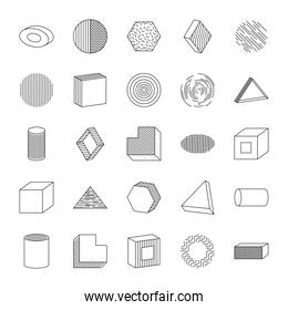 icon set of ellipses and geometric shapes, line style