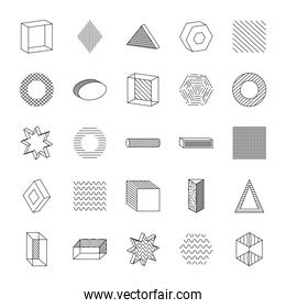geometric shapes with abstract design icon set, line style