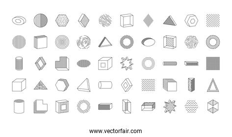 icon set of geometric shapes, line style