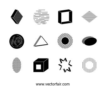 icon set of star and geometric shapes, silhouette style