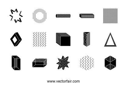 cube and geometric shapes icon set, silhouette style