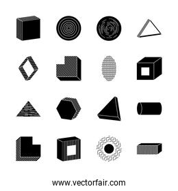 icon set of cylinder and geometric shapes, silhouette style