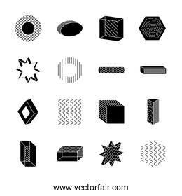 hexagon and geometric shapes icon set, silhouette style