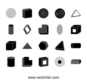 icon set of cube and geometric shapes, silhouette style