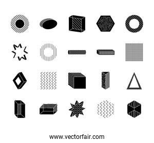 triangles and geometric shapes icon set, silhouette style