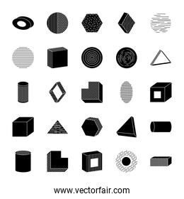 icon set of ellipses and geometric shapes, silhouette style