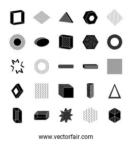 geometric shapes with abstract design icon set, silhouette style
