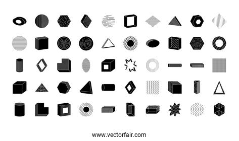 icon set of geometric shapes, silhouette style