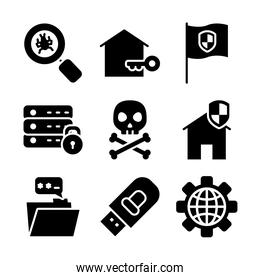 icon set of flag and cyber security, silhouette style