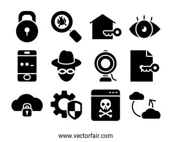 padlock and cyber security icon set, silhouette style