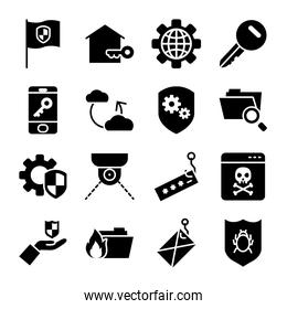 icon set of envelope and cyber security, silhouette style