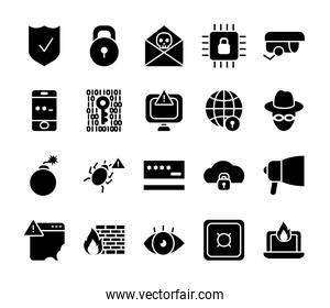 hacker and cyber security icon set, silhouette style