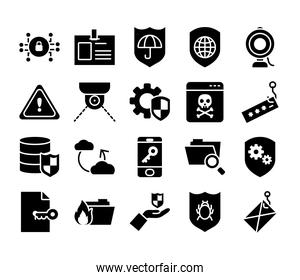 icon set of cweb camera and yber security, silhouette style