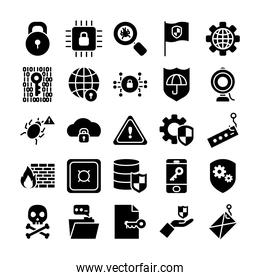 warning sign and cyber security icon set, silhouette style