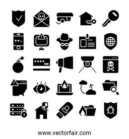 icon set of usb and cyber security, silhouette style