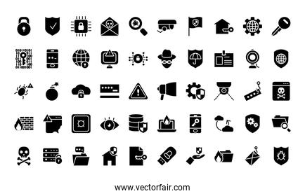 cyber security icon set, silhouette style