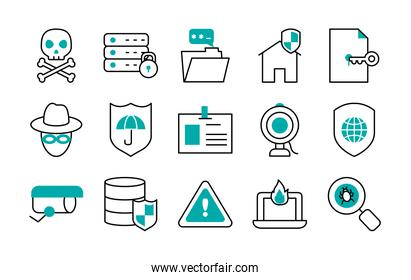 icon set of hacker and cyber security, half line half color style