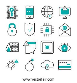 bomb and cyber security icon set, half line half color style