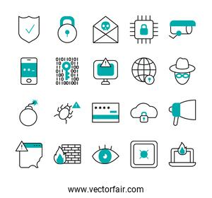 hacker and cyber security icon set, half line half color style