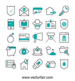 icon set of usb and cyber security, half line half color style