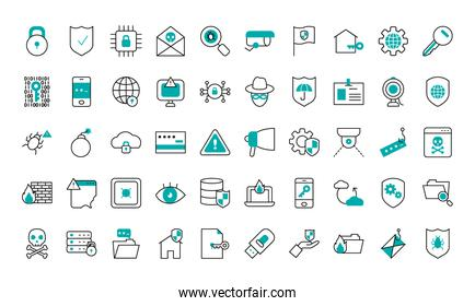 cyber security icon set, half line half color style