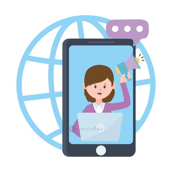 smartphone woman in video with speaker and laptop work marketing social network communication and technologies