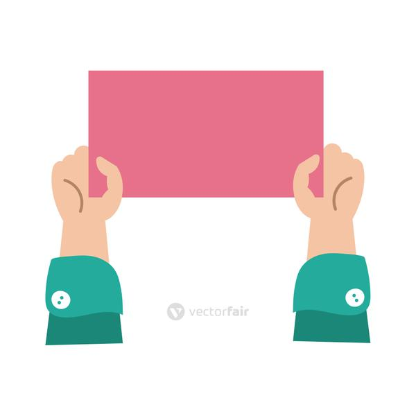 hands humans with protest square banner flat style icon
