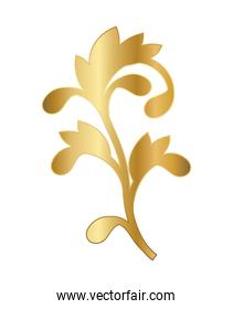 gold ornament in curved leaved shaped vector design