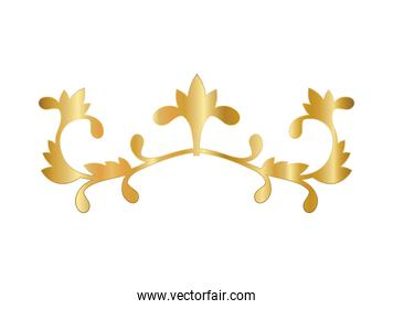 gold ornament in flowers with leaves shaped vector design