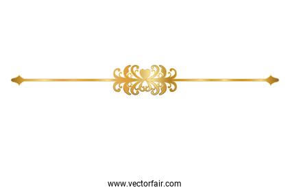 gold ornament in arrow shaped with leaves and heart vector design