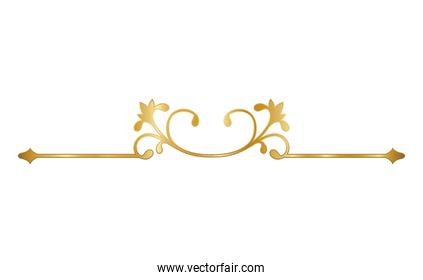 gold ornament in arrow shaped with curved flowers vector design