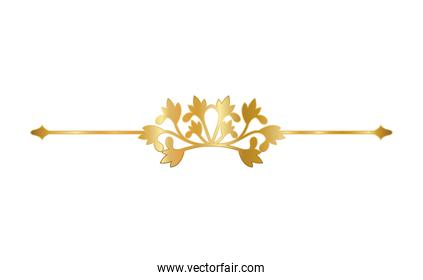 gold ornament in arrow shaped with flowers vector design
