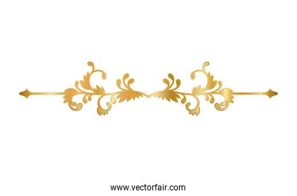 gold ornament in arrow shaped with curved leaves vector design
