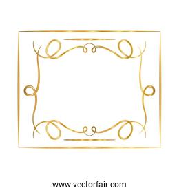 gold ornament frame in ribbon shaped vector design