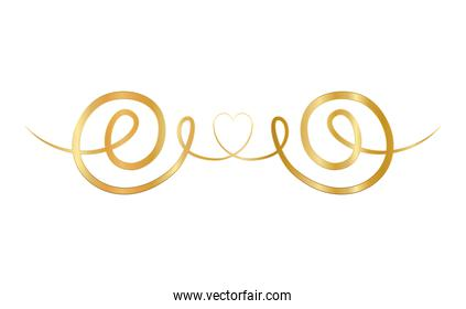 gold ornament in ribbon shaped with heart in center vector design