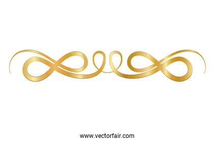 gold ornament in ribbon shaped vector design