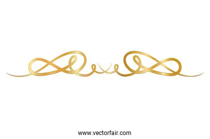 gold ornament in ribbon shaped with curves vector design