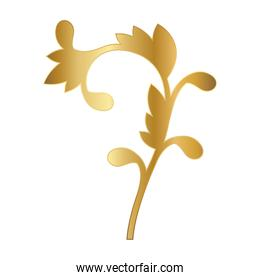gold ornament in curved flower with leaves shaped vector design