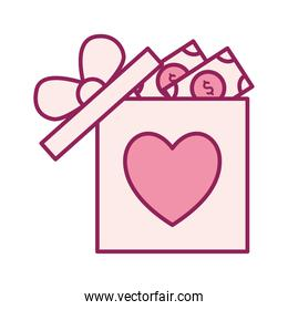heart in gift with bills line and fill style icon vector design