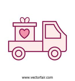 heart in gift on truck line and fill style icon vector design