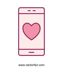 smartphone with heart line and fill style icon vector design