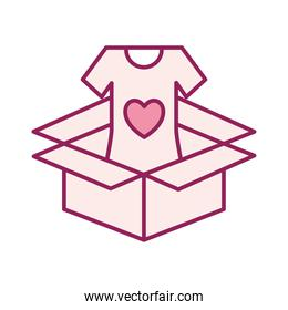 volunteer tshirt inside box line and fill style icon vector design