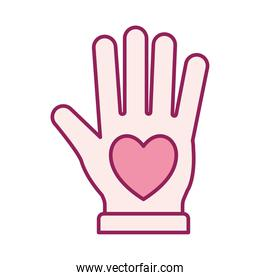 heart in hand line and fill style icon vector design