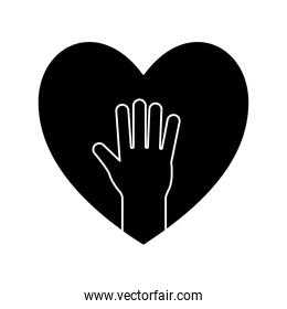 hand in heart silhouette style icon vector design