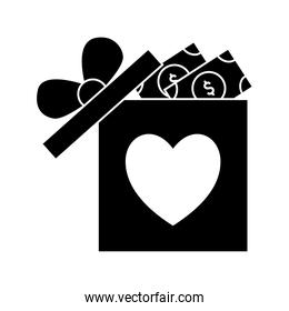 heart in gift with bills silhouette style icon vector design