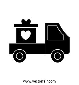 heart in gift on truck silhouette style icon vector design