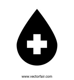 water drop with cross silhouette style icon vector design