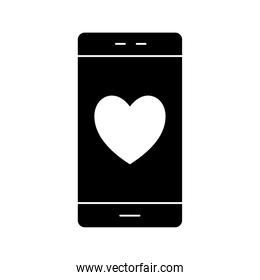 smartphone with heart silhouette style icon vector design