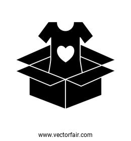 volunteer tshirt inside box silhouette style icon vector design