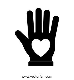 heart in hand silhouette style icon vector design